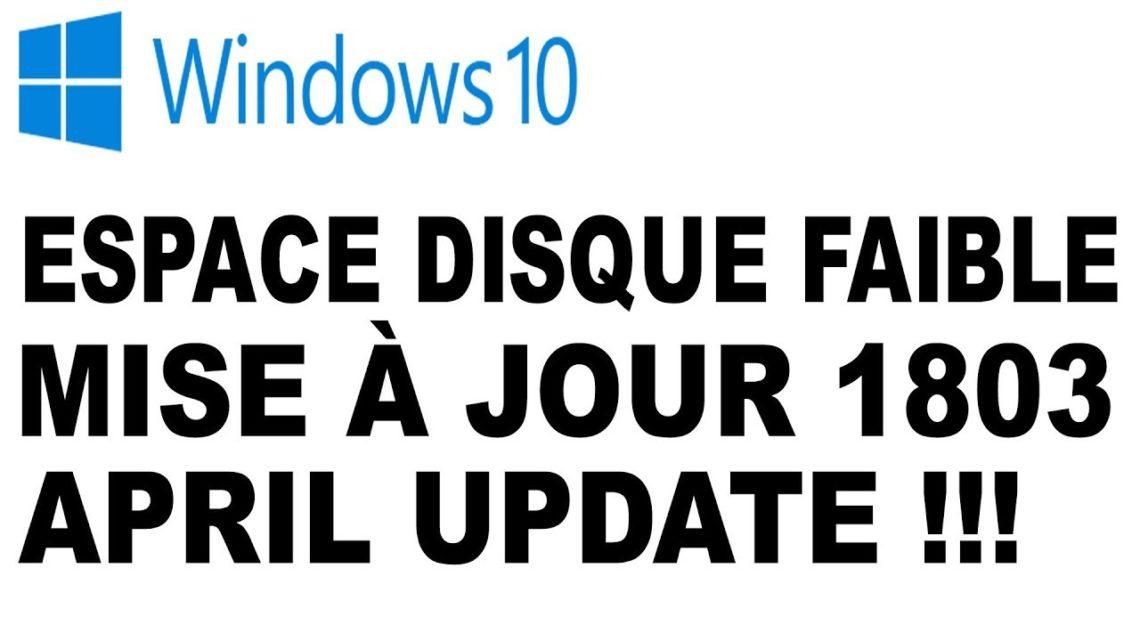 Windows 10: Espace disque faible après une mise à jour